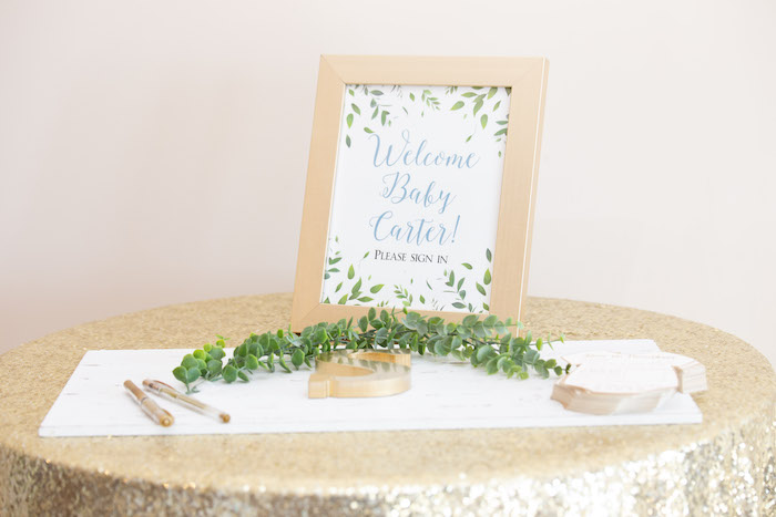 Gold Welcome Table from an Oh Baby! Glamorous Garden Baby Shower on Kara's Party Ideas | KarasPartyIdeas.com (12)
