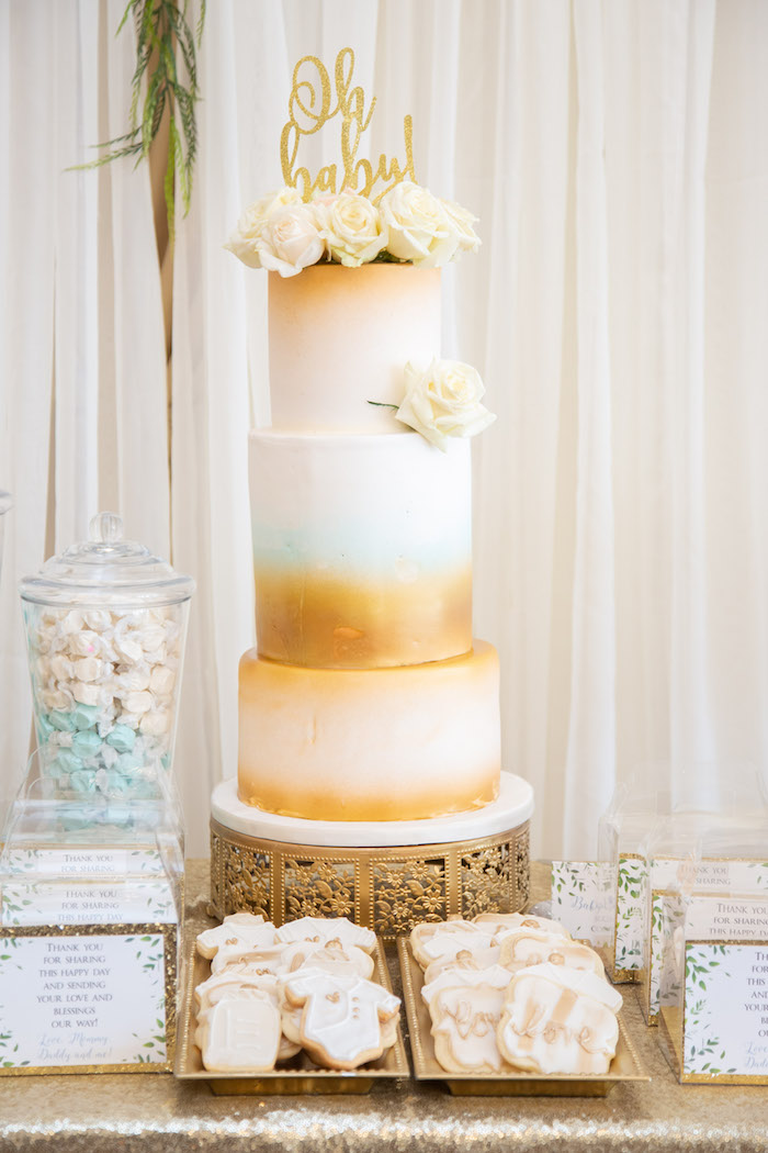 White & Gold Cake from an Oh Baby! Glamorous Garden Baby Shower on Kara's Party Ideas | KarasPartyIdeas.com (8)