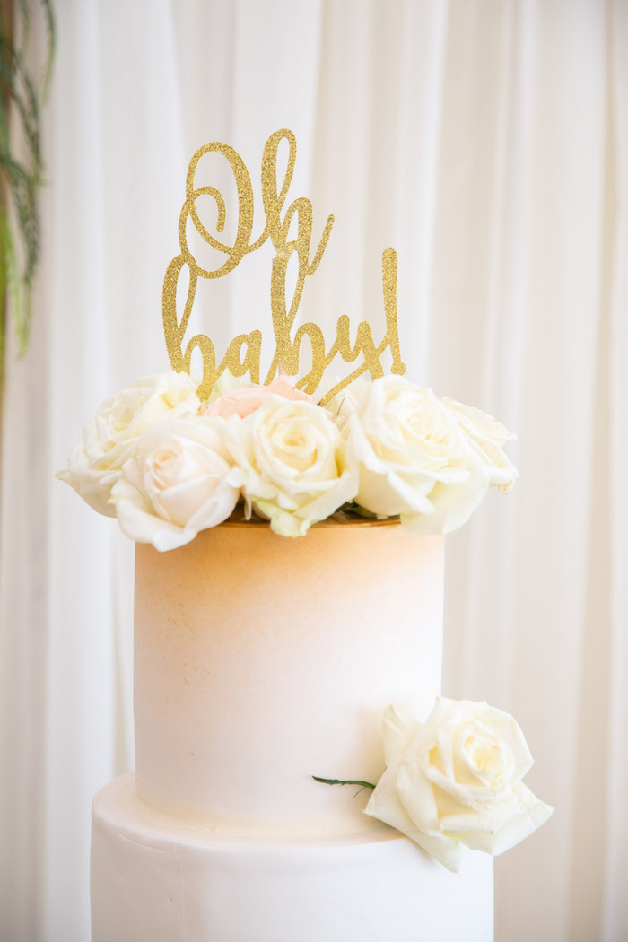 Floral Oh baby cake topper from an Oh Baby! Glamorous Garden Baby Shower on Kara's Party Ideas | KarasPartyIdeas.com (7)