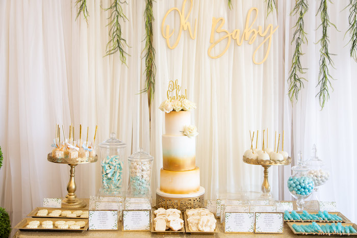 White & Gold Dessert Table from an Oh Baby! Glamorous Garden Baby Shower on Kara's Party Ideas | KarasPartyIdeas.com (6)