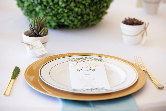 Gold + White Table Setting from an Oh Baby! Glamorous Garden Baby Shower on Kara's Party Ideas | KarasPartyIdeas.com (28)