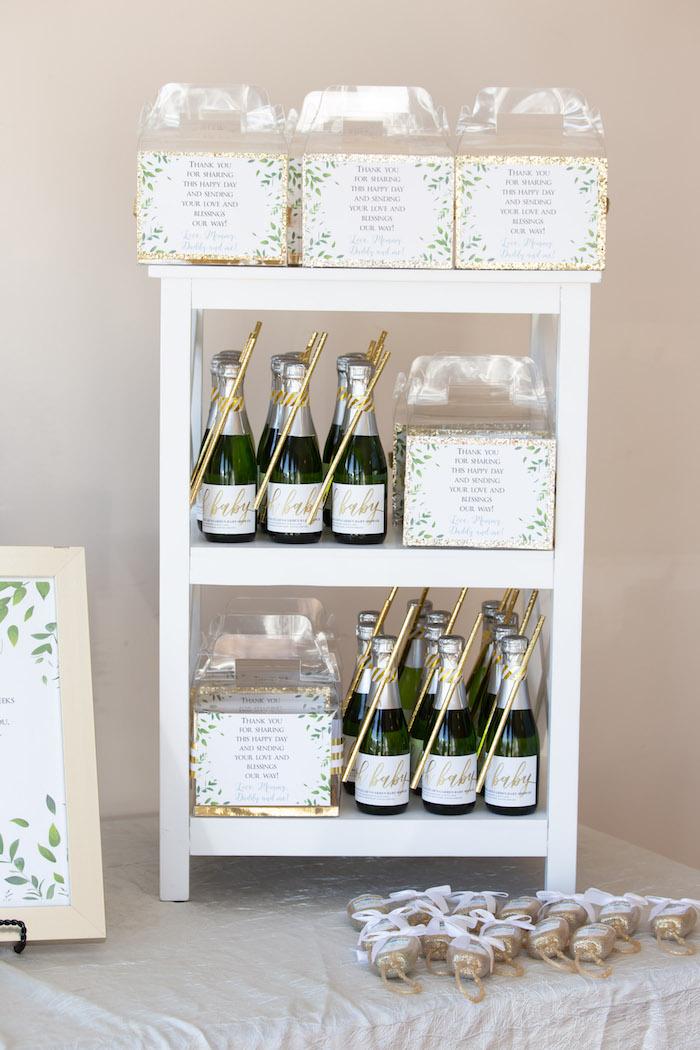 Favor Shelf from an Oh Baby! Glamorous Garden Baby Shower on Kara's Party Ideas | KarasPartyIdeas.com (21)