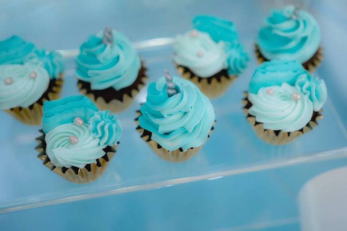 Unicorn Cupcakes from a Pastel Blue & Turquoise Unicorn Party on Kara's Party Ideas | KarasPartyIdeas.com (11)