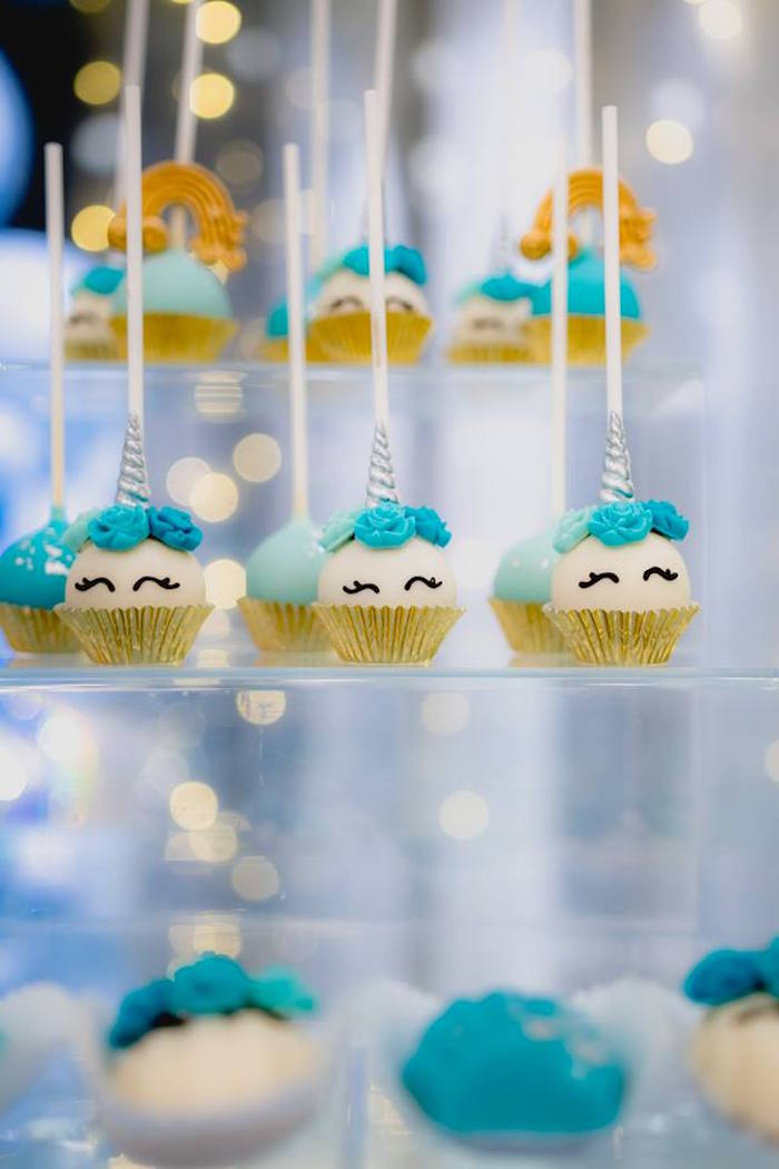 Unicorn Cake Pops from a Pastel Blue & Turquoise Unicorn Party on Kara's Party Ideas | KarasPartyIdeas.com (10)