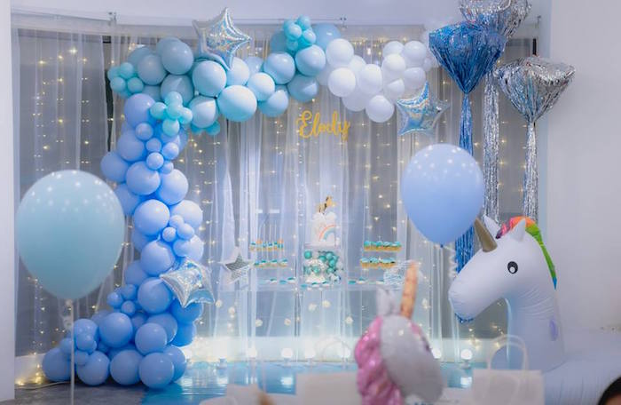 Unicorn Themed Party Table from a Pastel Blue & Turquoise Unicorn Party on Kara's Party Ideas | KarasPartyIdeas.com (9)
