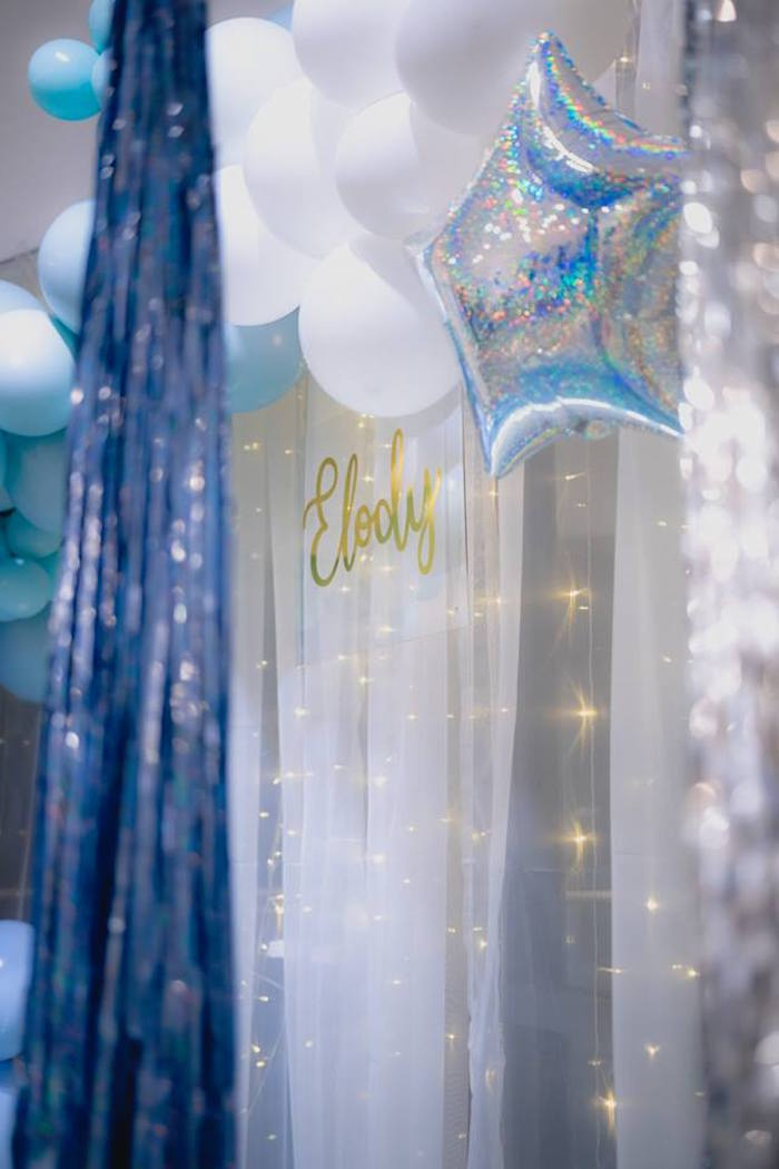 Twinkle Light + Balloon + Sheer Curtain Backdrop from a Pastel Blue & Turquoise Unicorn Party on Kara's Party Ideas | KarasPartyIdeas.com (6)