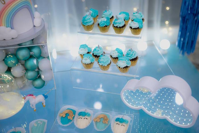 Unicorn Cupcakes + Sweets from a Pastel Blue & Turquoise Unicorn Party on Kara's Party Ideas | KarasPartyIdeas.com (5)