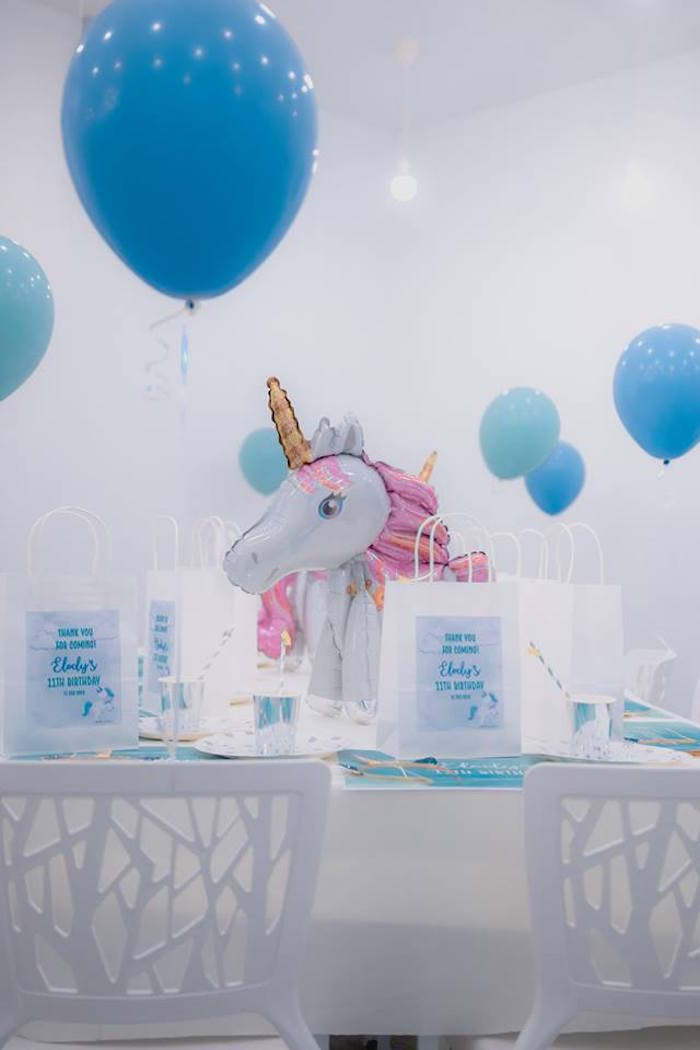 Unicorn Themed Party Table from a Pastel Blue & Turquoise Unicorn Party on Kara's Party Ideas | KarasPartyIdeas.com (20)