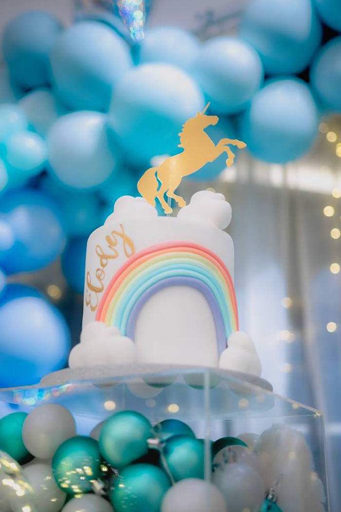 Rainbow Unicorn Cake from a Pastel Blue & Turquoise Unicorn Party on Kara's Party Ideas | KarasPartyIdeas.com (18)