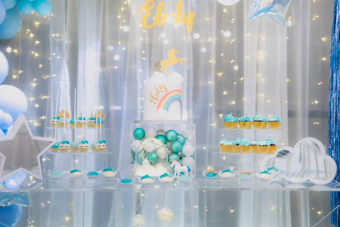 Unicorn Themed Dessert Table from a Pastel Blue & Turquoise Unicorn Party on Kara's Party Ideas | KarasPartyIdeas.com (17)