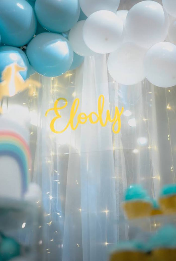 Twinkle Light Backdrop from a Pastel Blue & Turquoise Unicorn Party on Kara's Party Ideas | KarasPartyIdeas.com (13)