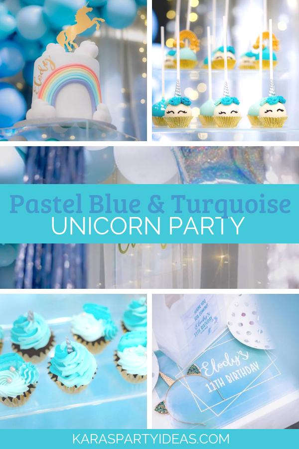 Pastel Blue & Turquoise Unicorn Party via Kara's Party Ideas - KarasPartyIdeas.com