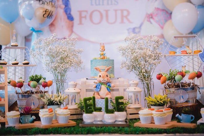 Peter Rabbit Cake Table from a Peter Rabbit Birthday Party on Kara's Party Ideas | KarasPartyIdeas.com (13)