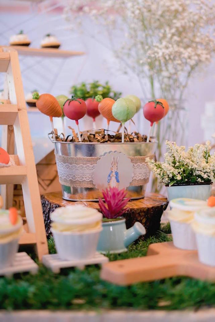 Mr. McGregor's Vegetable Garden Dessert Table from a Peter Rabbit Birthday Party on Kara's Party Ideas | KarasPartyIdeas.com (8)