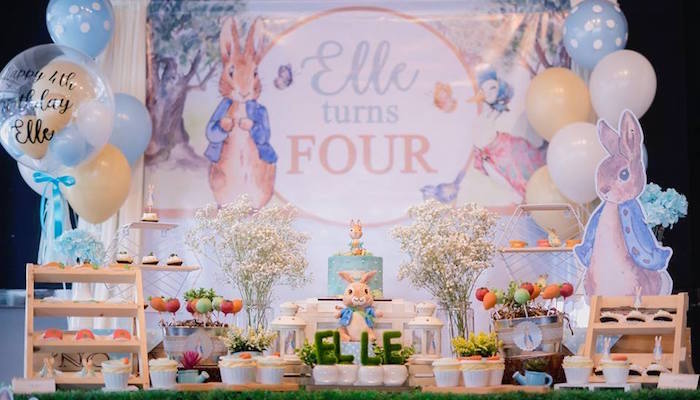 Peter Rabbit Dessert Table from a Peter Rabbit Birthday Party on Kara's Party Ideas | KarasPartyIdeas.com (7)