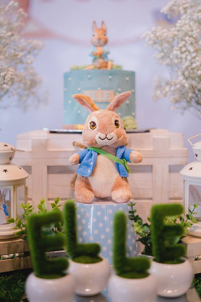 Plush Peter Rabbit Decoration from a Peter Rabbit Birthday Party on Kara's Party Ideas | KarasPartyIdeas.com (21)