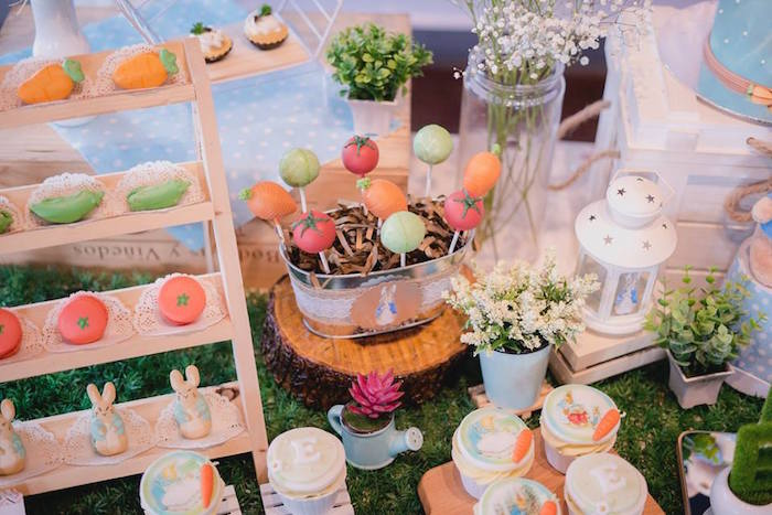 Mr. McGregor's Vegetable Garden Dessert Table from a Peter Rabbit Birthday Party on Kara's Party Ideas | KarasPartyIdeas.com (17)