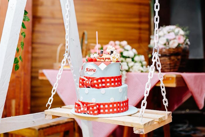 Swinging Picnic Cake from a Picnic Birthday Party on Kara's Party Ideas | KarasPartyIdeas.com (10)