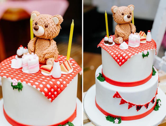 Teddy Bear Picnic Cake from a Picnic Birthday Party on Kara's Party Ideas | KarasPartyIdeas.com (6)
