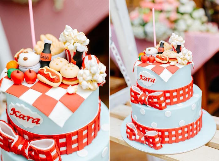 Picnic Cake from a Picnic Birthday Party on Kara's Party Ideas | KarasPartyIdeas.com (5)