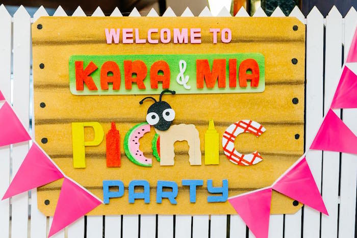 Picket Fence Picnic Party Sign from a Picnic Birthday Party on Kara's Party Ideas | KarasPartyIdeas.com (23)