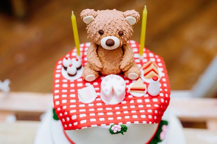 Teddy Bear Picnic Cake from a Picnic Birthday Party on Kara's Party Ideas | KarasPartyIdeas.com (22)