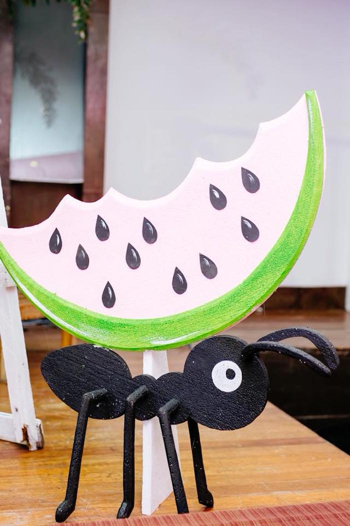 Giant Watermelon & Ant Props + Standees from a Picnic Birthday Party on Kara's Party Ideas | KarasPartyIdeas.com (21)
