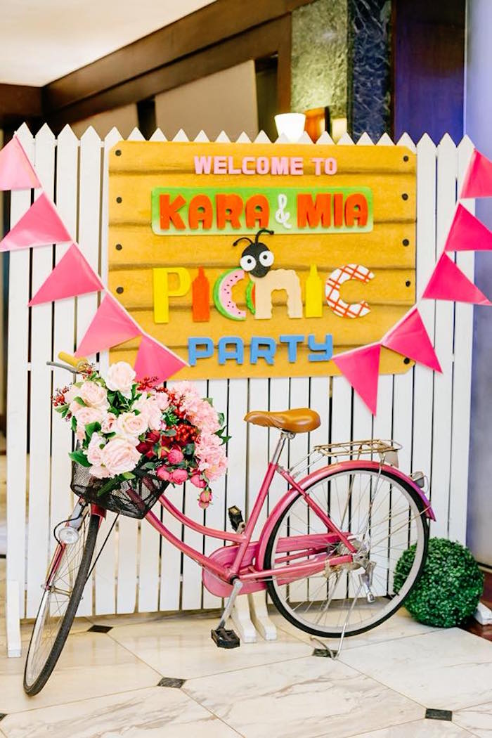 Picket Fence Picnic Party Sign + Backdrop from a Picnic Birthday Party on Kara's Party Ideas | KarasPartyIdeas.com (20)
