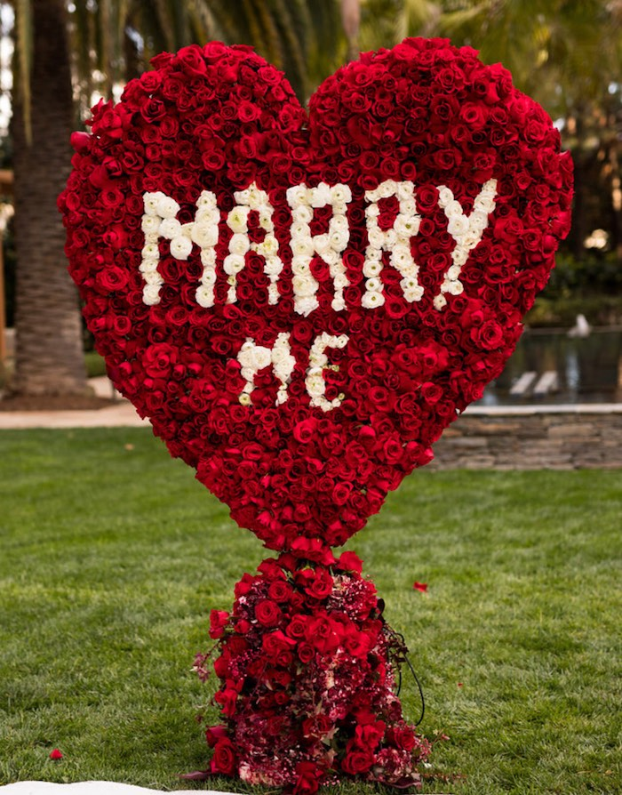 "Red Rose ""Marry Me"" Heart from a Romantic Marriage Proposal + Surprise Engagement Party on Kara's Party Ideas 