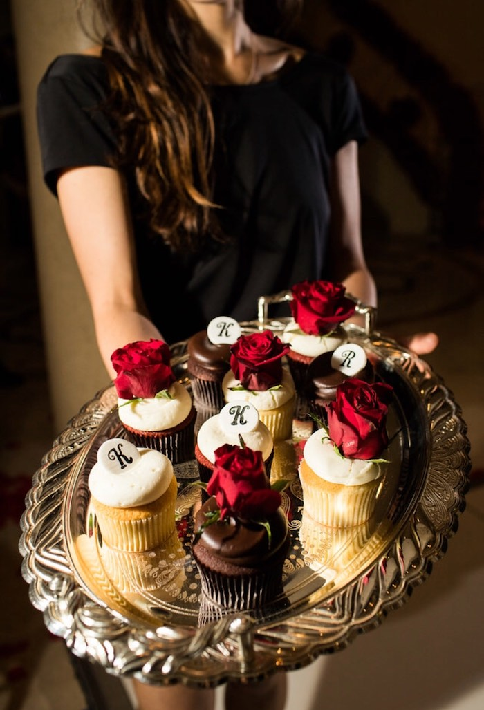 Rose & Letter Cupcakes from a Romantic Marriage Proposal + Surprise Engagement Party on Kara's Party Ideas | KarasPartyIdeas.com (16)