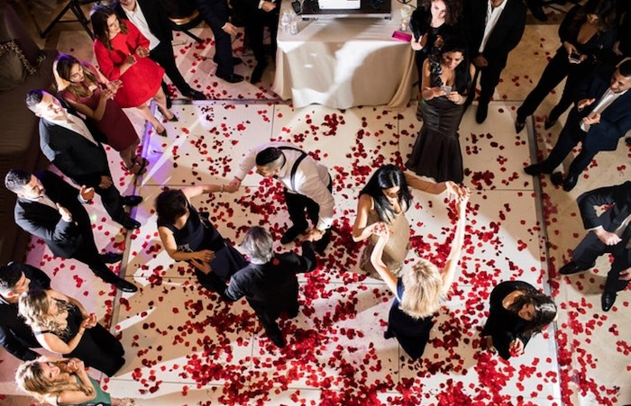 Rose Petal Dance Floor from a Romantic Marriage Proposal + Surprise Engagement Party on Kara's Party Ideas | KarasPartyIdeas.com (15)