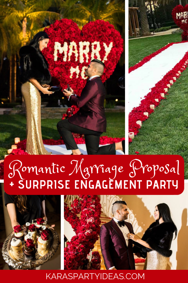 Romantic Marriage Proposal + Surprise Engagement Party via Kara's Party Ideas - KarasPartyIdeas.com