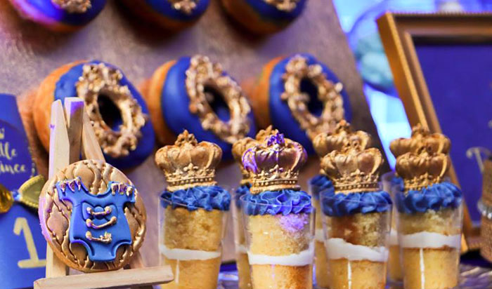 Crown-topped Dessert Shooters from a Royal Prince Birthday Party on Kara's Party Ideas | KarasPartyIdeas.com (16)