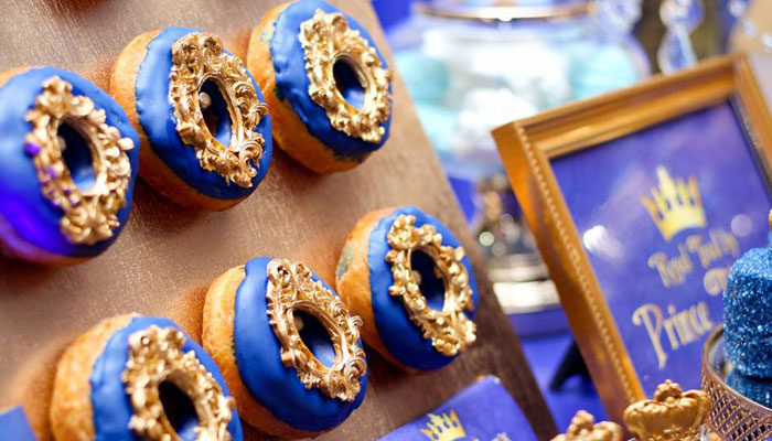 Regal Blue + Gold Donuts from a Royal Prince Birthday Party on Kara's Party Ideas | KarasPartyIdeas.com (14)