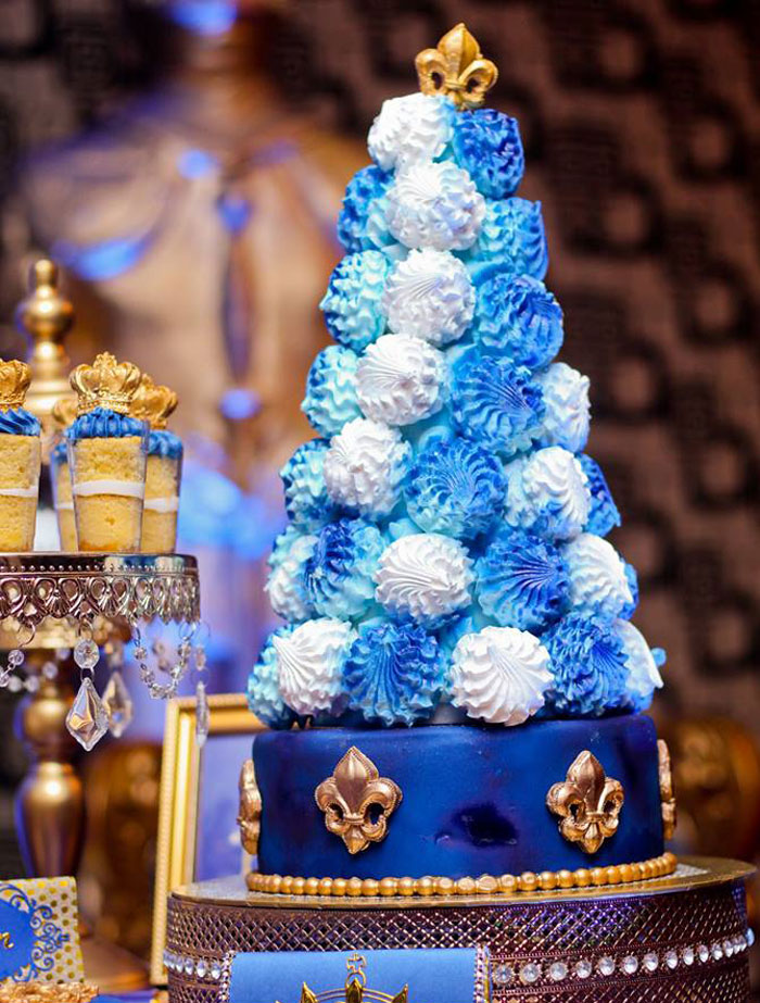 Meringue Tower from a Royal Prince Birthday Party on Kara's Party Ideas | KarasPartyIdeas.com (6)