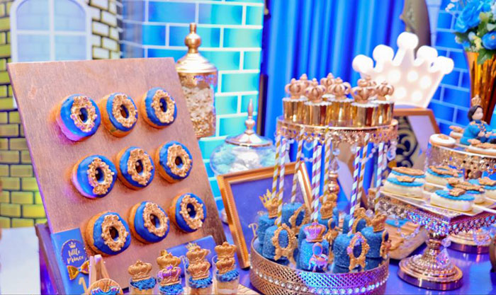 Prince Themed Dessert Table from a Royal Prince Birthday Party on Kara's Party Ideas | KarasPartyIdeas.com (26)