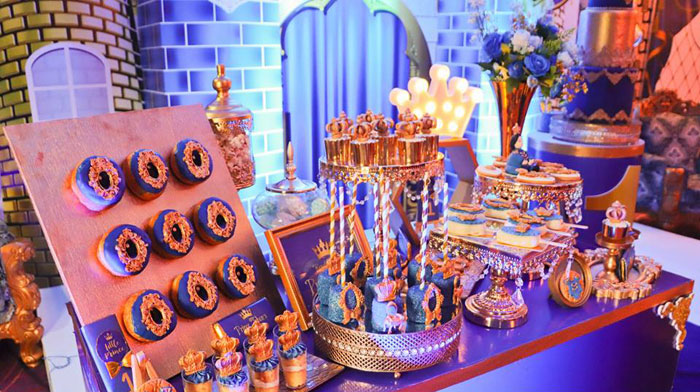 Prince Themed Dessert Table from a Royal Prince Birthday Party on Kara's Party Ideas | KarasPartyIdeas.com (24)