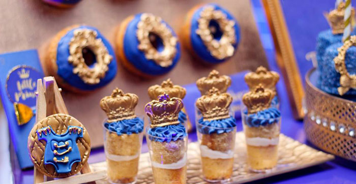 Regal Dessert Shooters from a Royal Prince Birthday Party on Kara's Party Ideas | KarasPartyIdeas.com (22)
