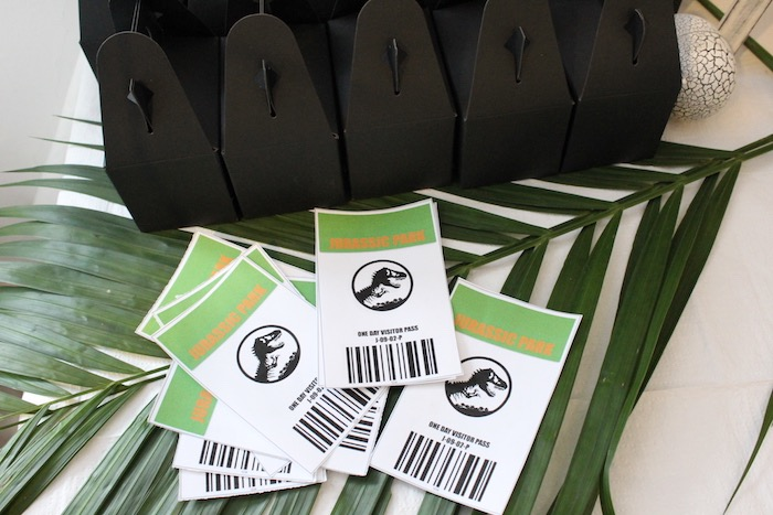 Jurassic Park Passes from a Rustic Dinosaur Birthday Party on Kara's Party Ideas | KarasPartyIdeas.com (15)