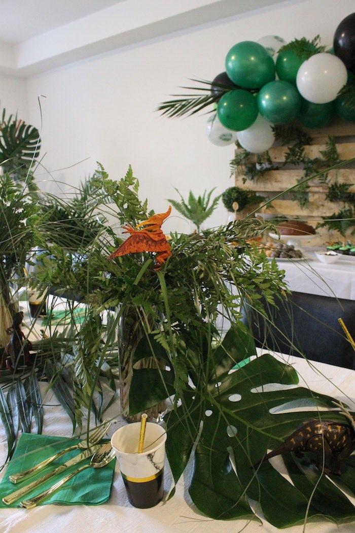 Dinosaur Foliage Centerpiece from a Rustic Dinosaur Birthday Party on Kara's Party Ideas | KarasPartyIdeas.com (13)
