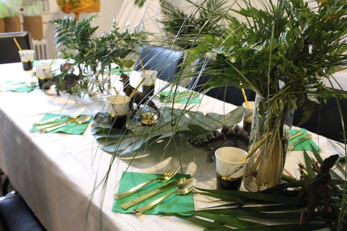 Dinosaur Party Table from a Rustic Dinosaur Birthday Party on Kara's Party Ideas | KarasPartyIdeas.com (12)