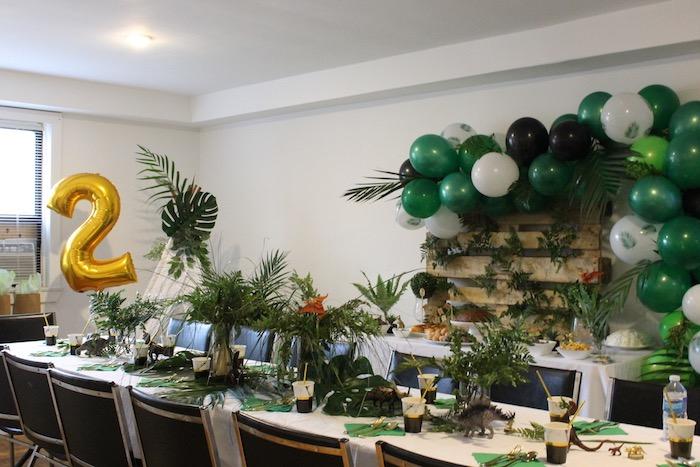 Dinosaur Party Tables from a Rustic Dinosaur Birthday Party on Kara's Party Ideas | KarasPartyIdeas.com (11)