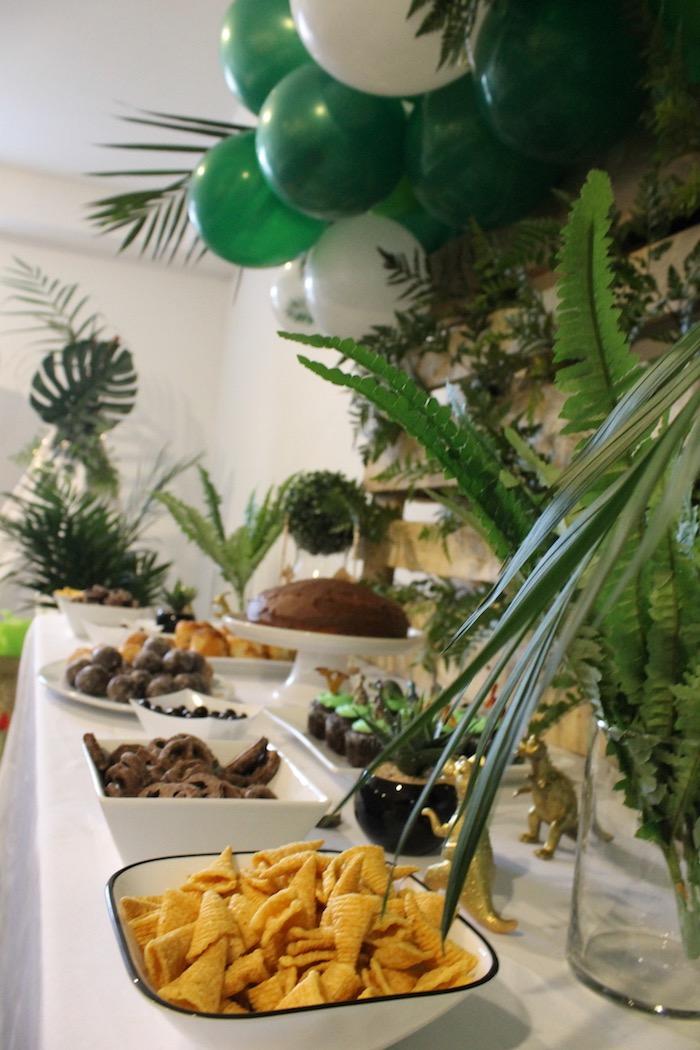 Dinosaur Themed Dessert Table from a Rustic Dinosaur Birthday Party on Kara's Party Ideas | KarasPartyIdeas.com (10)