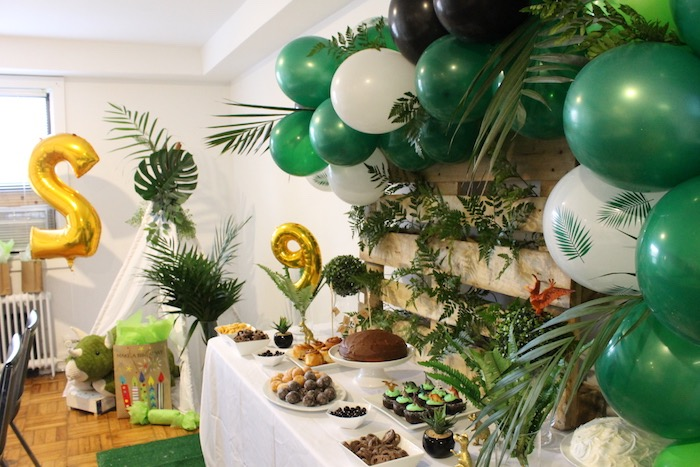 Dinosaur Themed Dessert Table from a Rustic Dinosaur Birthday Party on Kara's Party Ideas | KarasPartyIdeas.com (9)