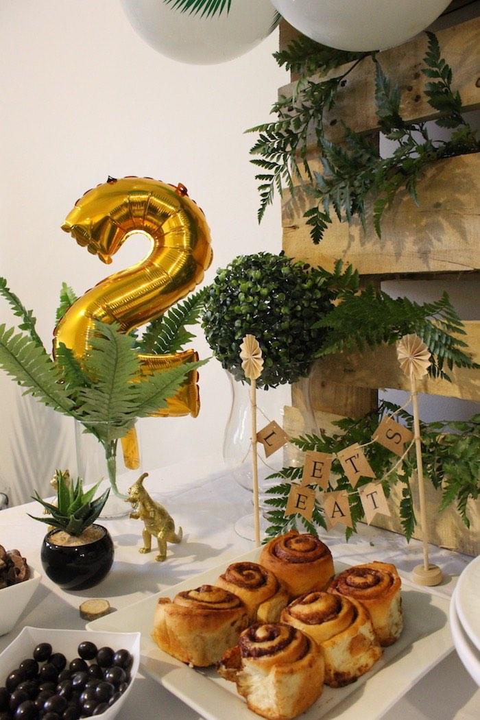 Dinosaur-inspired Dessert Table from a Rustic Dinosaur Birthday Party on Kara's Party Ideas | KarasPartyIdeas.com (5)