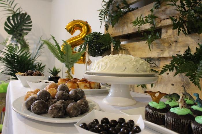 Cake Table from a Rustic Dinosaur Birthday Party on Kara's Party Ideas | KarasPartyIdeas.com (4)