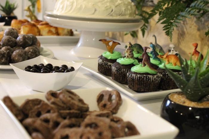 Dinosaur Dessert Table from a Rustic Dinosaur Birthday Party on Kara's Party Ideas | KarasPartyIdeas.com (22)
