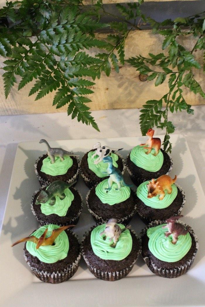 Dinosaur Cupcakes from a Rustic Dinosaur Birthday Party on Kara's Party Ideas | KarasPartyIdeas.com (20)