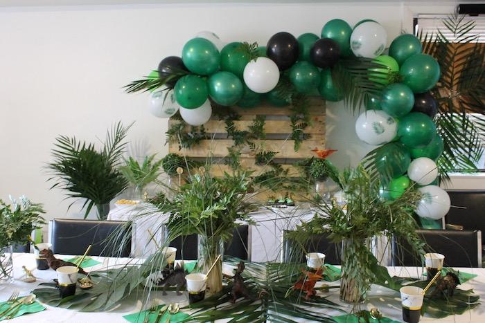 Dinosaur Themed Party Tables from a Rustic Dinosaur Birthday Party on Kara's Party Ideas | KarasPartyIdeas.com (17)