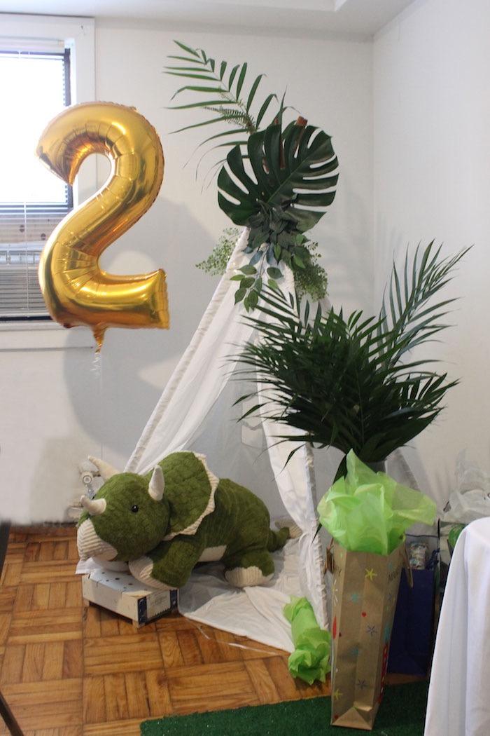 Dinosaur Tent Lounge from a Rustic Dinosaur Birthday Party on Kara's Party Ideas | KarasPartyIdeas.com (16)